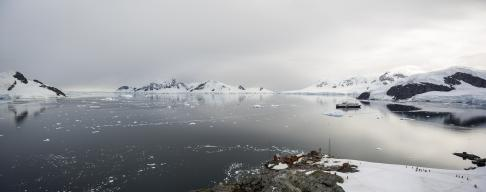 A panoramic view of Brown Station and Paradise Harbour, in the Antarctic Peninsula.
