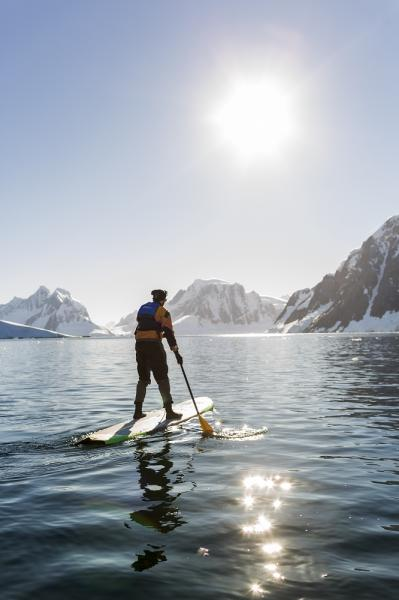 Paddle-boarding in Antarctica.