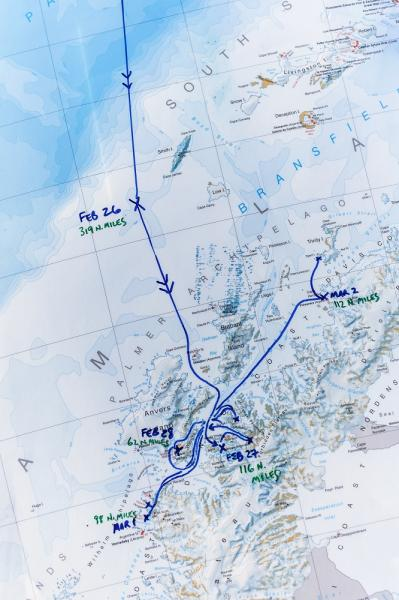Map of the progress of the Antarctic trip.