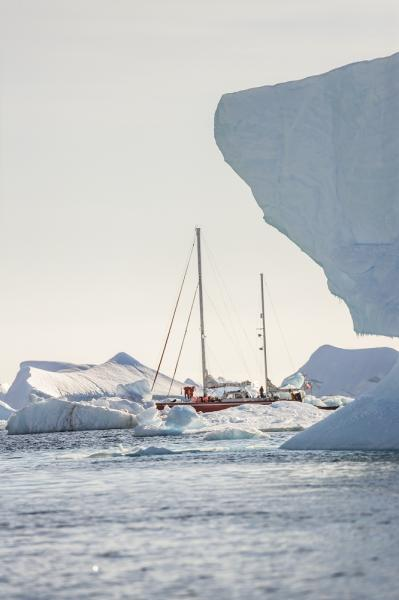 A yacht in the Antarctic Peninsula.
