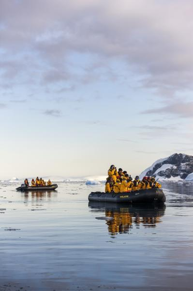 Zodiac trip to look for whales and penguins in Antarctica.