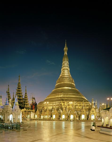 Burma's holiest shrine, the Shwedagon Pagoda has existed for over 2600 years, and is located on Singuttara Hill in Yangon, Myanmar.