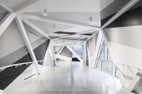 Architect James Khamsi's pedestrian bridge joining the Delta Hotel and Southcore Financial Centre in Toronto, Canada. James' firm FIRM a.d. is located in New York City.