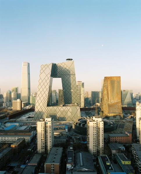 The CCTV building, designed by Office for Metropolitan Architecture (OMA) partners Ole Scheeren and Rem Koolhaas in Beijing, China.