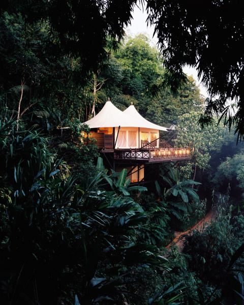 The Four Seasons Tented Resort in the Golden Triangle in Thailand, next to Burma. There are 15 luxury tents at this one-of-a-kind resort.