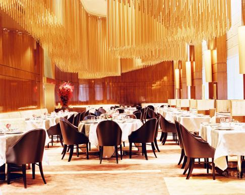 French fine-dining restaurant Amber, in the Mandarin Oriental Landmark hotel in Hong Kong. Interiors were designed by Adam Tihany and the Executive Chef is Richard Ekkebus. It has received two Michelin Stars for its excellent cuisine.