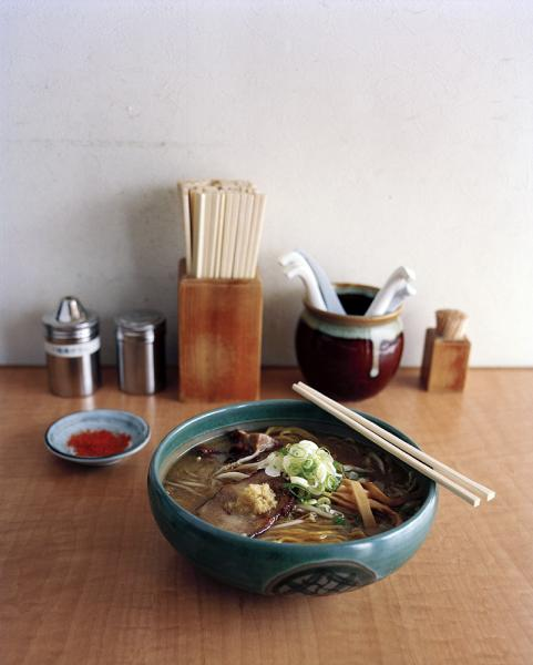 Menya Saimi ramen restaurant in Sapporo, Japan. Pictured here is saimi miso ramen. 