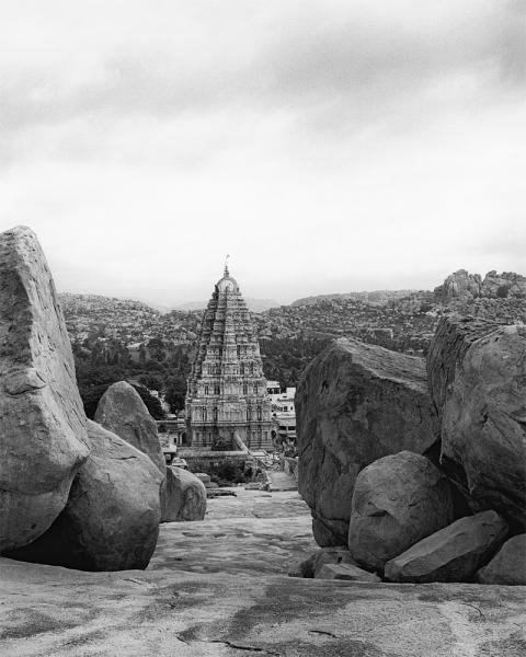 Virupaksha Temple in the city of Hampi, in Karnataka Province, India. The ruins of ancient  Vijayanagara are located where modern-day Hampi is, and are designated a UNESCO World Heritage Site.
