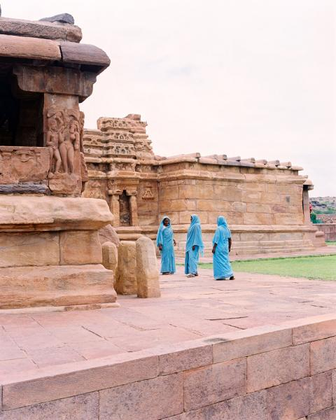 Tourists at a temple in Aihole, Karnataka Province, India.