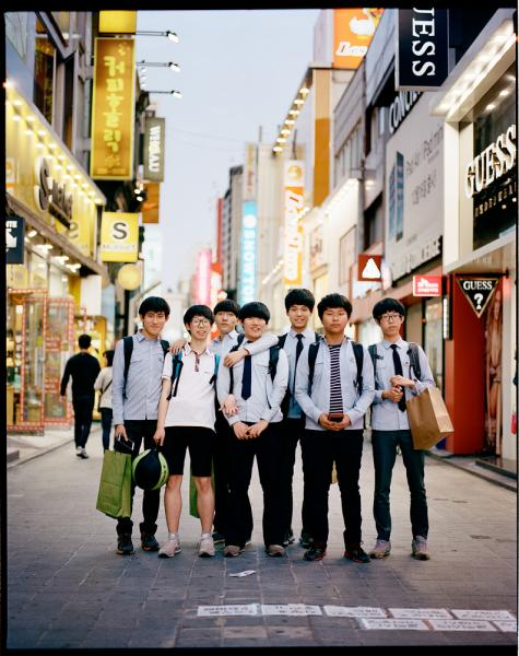 Chungjangno District, a shopping and dense urban area in Gwangju, South Korea.