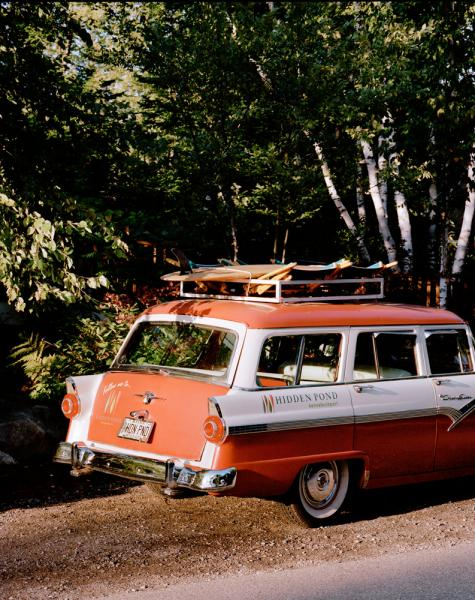 The Hidden Pond Resort, near Kennebunkport, Maine. Pictured here is their car that advertises the resort, complete with wooden old-school surfboard on the roof.