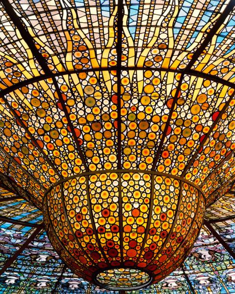 Domènech i Montaner modernist masterpiece, the Palau de la Musica Catalan was constructed between 1905 and 1908 using all local materials, with the exception of the organ which was imported from Germany.