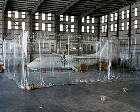 An ATR-72 plane waits to be painted in a hanger at Yangon International Airport. The country is seeing tremendous growth in the tourist sector and is trying to build out transport and hotel infrastructure as quickly as possible.