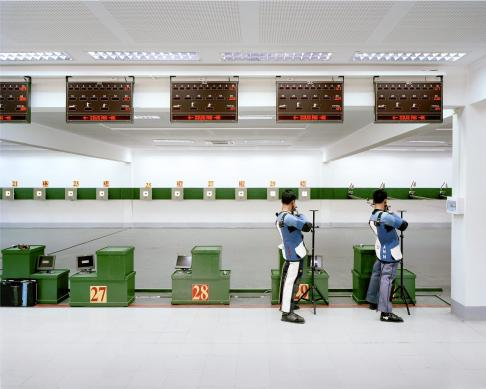 This shooting range was the location for the South East Asian (SEA) Games shooting competition in 2013. Pictured here are two members of the Burmese national team.