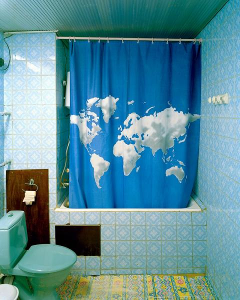A worldly shower curtain at the Hotel Avesta in Dushanbe, Tajikistan.