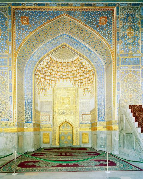Inside the Registan in ancient Samarkand, Uzbekistan.