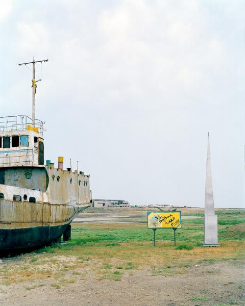 An abandoned ship on the shores of what was once the Aral Sea in Aralsk, Kazakhstan. The Aral Sea has all but disappeared as a result of intentional draining during the Soviet era to irrigate cotton crops in what is now Uzbekistan.