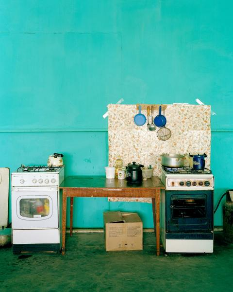 The kitchen in Hotel Aralsk, in Aralsk, Kazakhstan. Note that the stove is being used as a cupboard. The Aral Sea has all but disappeared as a result of intentional draining during the Soviet era to irrigate cotton crops in what is now Uzbekistan.