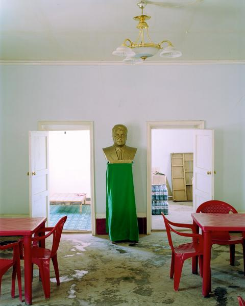 A bust of former Turkmenistan President Saparmurat Niyazov at a roadside diner in the desert near Darvaza