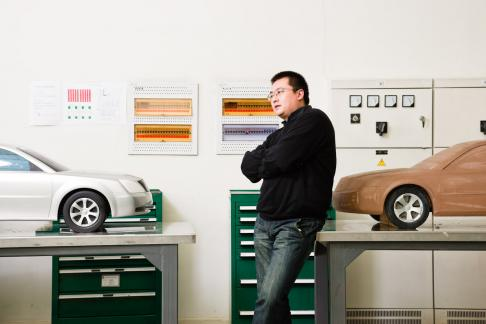 Joe Qiu, part of the Chinese design team that revamped General Motors' LaCrosse car model at the design studio in Shanghai, China. The car was redesigned specifically for the Chinese market with an emphasis on increased curb presence.