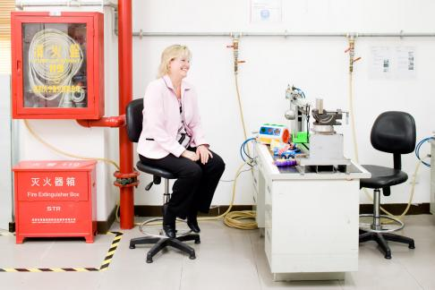 Sue DeRagon, Associate Director of 'Toys and Premiums' in the Toy Testing lab of STR in Shenzhen, China