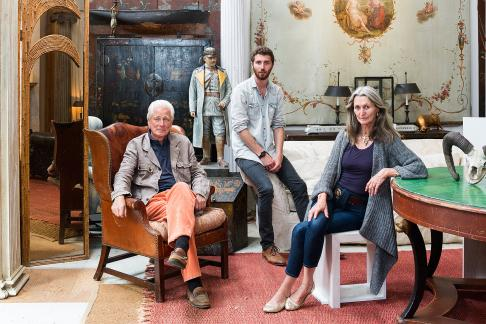 Furniture designer Max Eicke along with his mother and father in the studio at their home in Sag Harbor on Wednesday June 4, 2014.