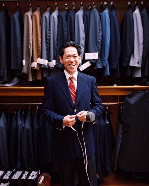 Master tailor WW Chan at his store in Shanghai, China. Originally from Shanghai he fled with his family to Hong Kong after 194. In Hong Kong they established themselves as high-end tailors, and have returned to Shanghai from the mid-2000s.