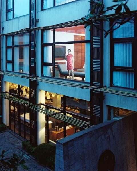 Looking out the window into the courtyard at URBN Boutique Hotel in Shanghai, China. The hotel was designed by A00 Architects Raefer Wallis and Sacha Silva.