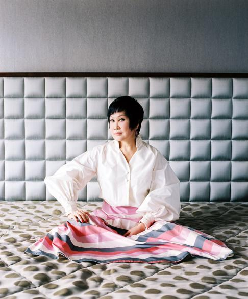 Yue-Sai Kan at her home in Shanghai. Yue-Sai Kan created China's first major cosmetics brand in 1992, and is a television celebrity, hosting the show 'Yue-Sai's World'.