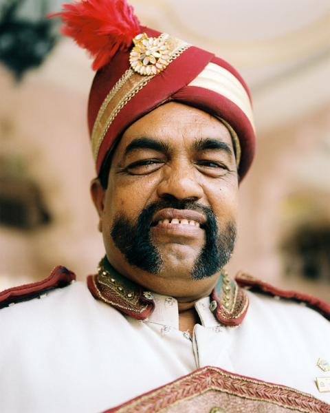 A doorman at the Leela Palace Hotel in Bangalore, India.