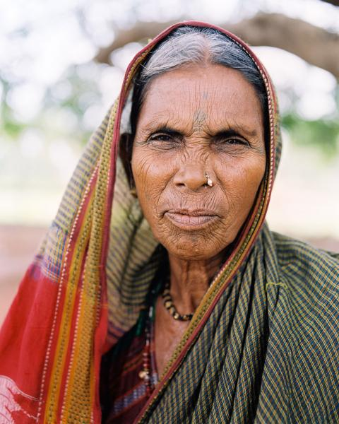 An Indian woman near the city of Aihole, Karnataka Province, India.