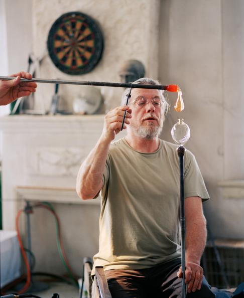 Master glass blower and artist Robin Mix at his studio in Tunbridge, Vermont. Robin's glass creations have ended up in the permanent collections of The Smithsonian Institution's National Museum of Design, as well as the Museum of American Glass.