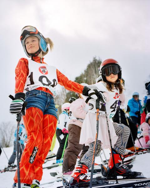 Children and adults alike dress up in costume for the last weekend of the season's so-called 'Race the Face' at Suicide Six Ski Area, in Woodstock Vermont.