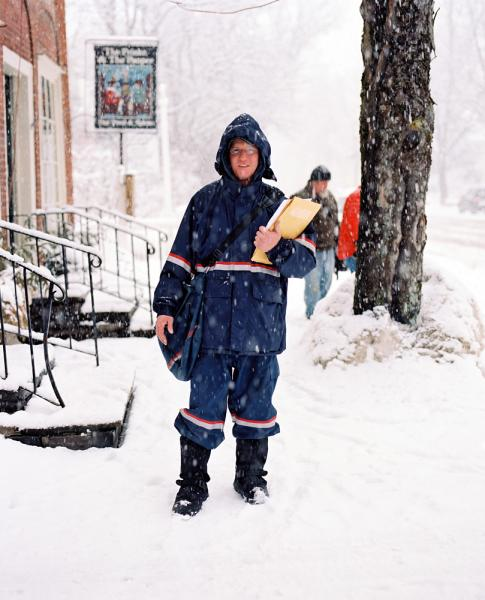 An epic snowstorm won't stop this postal worker from delivering the mail in Woodstock, Vermont.