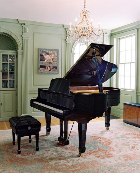 The piano room at the Blue Horse Inn, where they often have concerts, located in Woodstock Vermont.