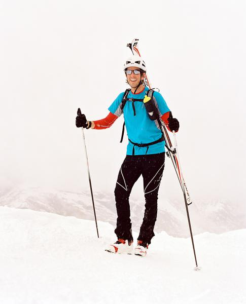 Training for a race involves hiking up the mountain with skis on your back in preparation for skiing down it in Zermatt, Switzerland.