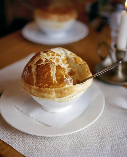 Bergrestaurant Blatten, in Zermatt, Switzerland. Pictured here is a mushroom soup served in a bowl with a puff pastry top.