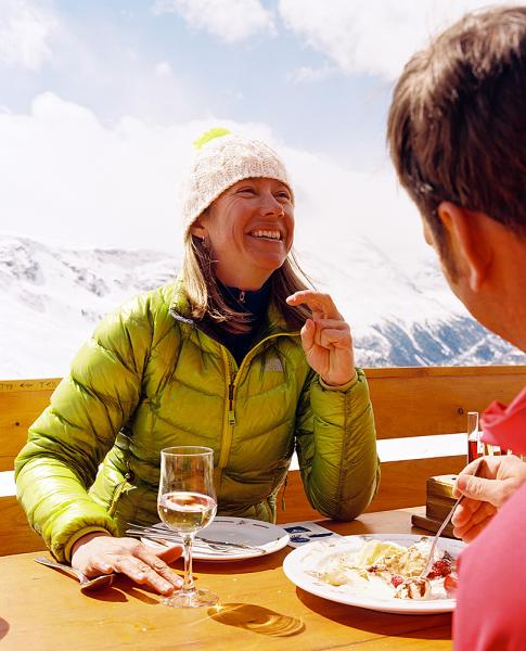 Located at 2616m, Fluhalp restaurant near Zermatt Switzlerand, has an immense outside deck for enjoying its incredible food and spectacular view of the Matterhorn on clear days. Enjoying dessert on the deck with a variety of house-made schnapps (blueberry, mixed herb, raspberry) to finish the meal.
